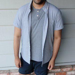 American Eagle Blue Striped Short Sleeve Shirt